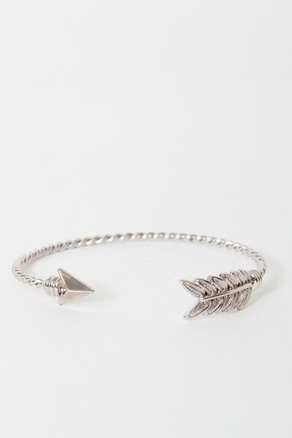 Twisted Arrow Cuff Bracelet Silver