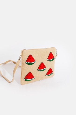 Jute Watermelon Clutch Red