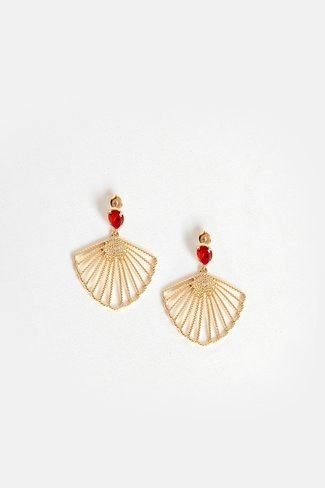 Gem Stone Shell Earrings Gold Red