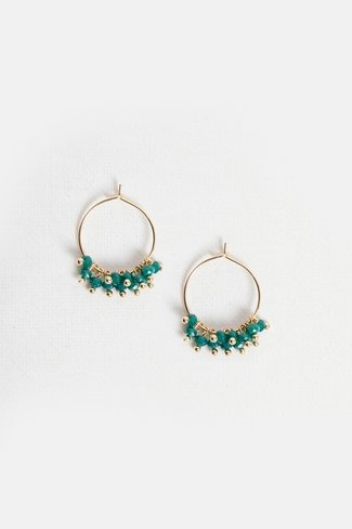 Beads Hoop Earrings Gold Green