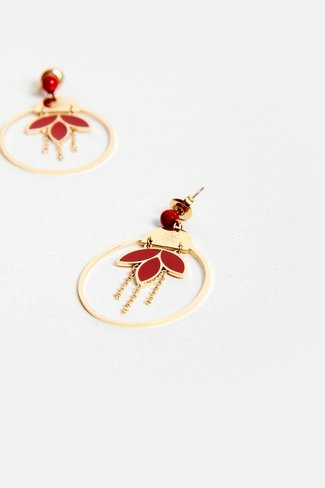 Floral Oval Earrings Gold Red