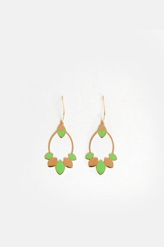 Leaf Oval Earrings Gold Green