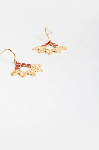 Dots Leaf Earrings Gold Red