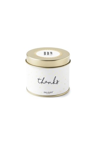 Tin Candle Sparkle Thanks White