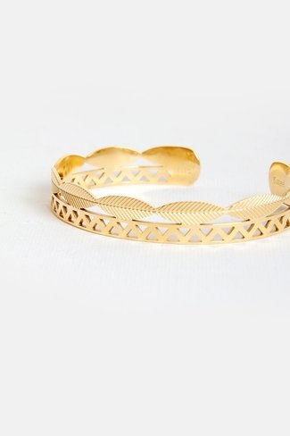 Feather Cuff Bracelet Gold