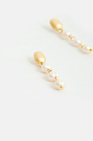 Triple Pearl Drop Earrings Gold