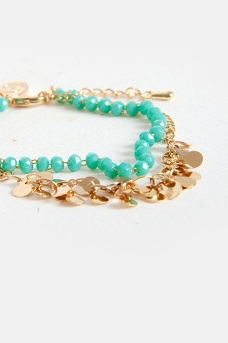 Pear-Drop Double Beads Charm Bracelet Turquoise