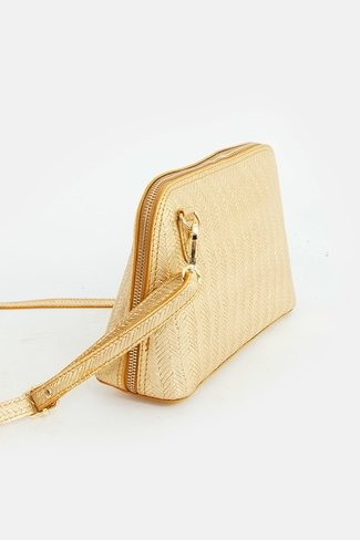 Croc-Effect Golden Zipper Bag Gold Sweet Like You