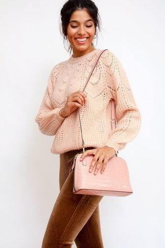 Croc-Effect Golden Zipper Bag Old Rose