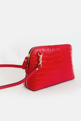 Croc-Effect Golden Zipper Bag Red Sweet Like You