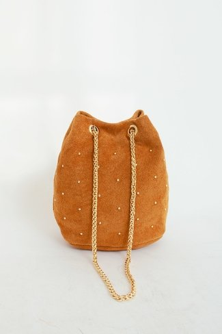 Golden Studs Bucket Bag Camel