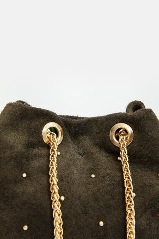 Golden Studs Bucket Bag Green