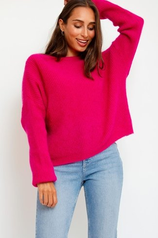Cosy Boatneck Sweater Fuchsia Sweet Like You