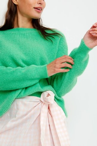 Cosy Boatneck Sweater Neon Green Sweet Like You
