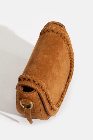 Braided Suede Bag Camel