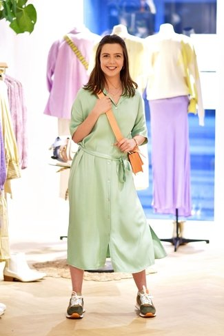 Short Sleeve Shirt Dress Mint