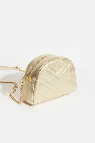 Round Chevron Bag Gold
