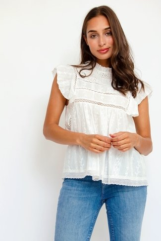 Ruffle Broderie Top White