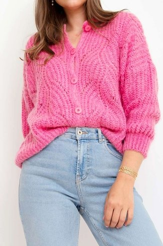 Buttoned Knitted Cardigan Pink