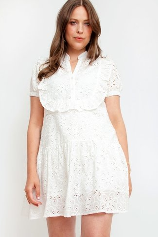 Broderie Puff Sleeve Dress White