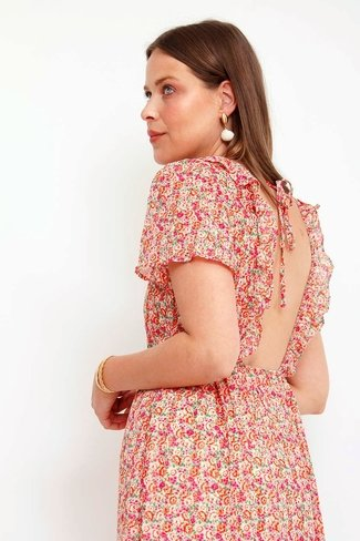 Pink Flower Open Back Dress Beige