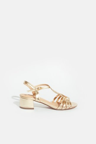 Heeled Strappy Sandals Gold