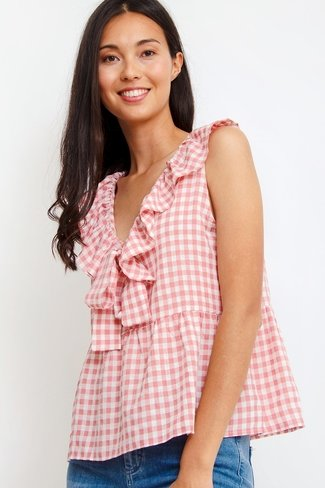 Check Ruffle Top Pink