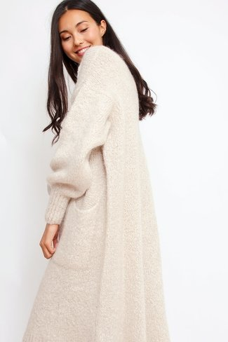 Long Wool Cardigan Beige