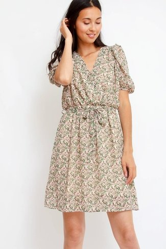 Floral Tie Waist Dress Green Sweet Like You