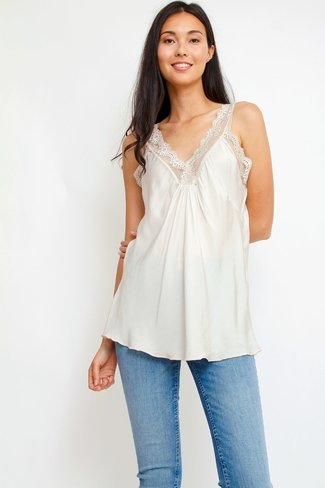 Lace V-neck Top Beige