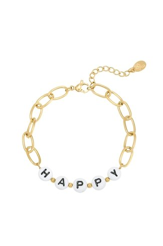 Beads Happy Bracelet Gold