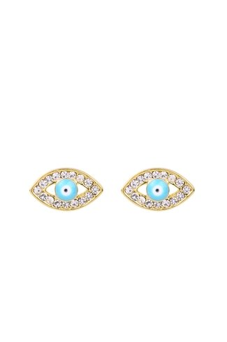 Blue Eyes Earrings Gold