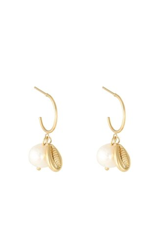 Pearl With Shell Earrings Gold