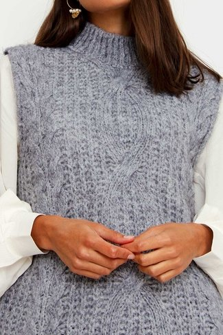 Cable Knit Debardeur Grey Sweet Like You