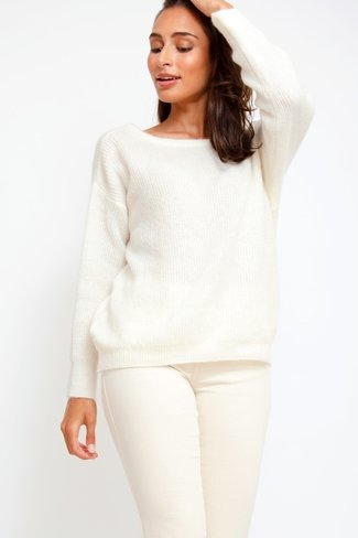 Reversible V-neck Sweater White