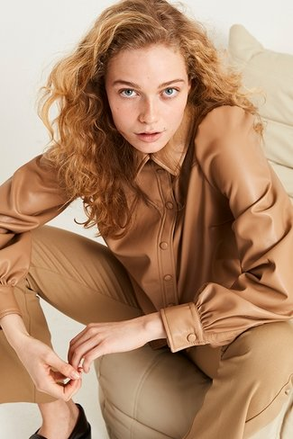 Leather Daima Blouse Camel