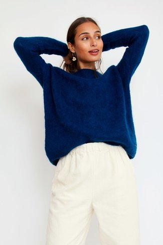 Round Neck Dolympe Sweater Blue