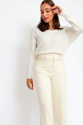 Basile Wide Leg Pants Cream