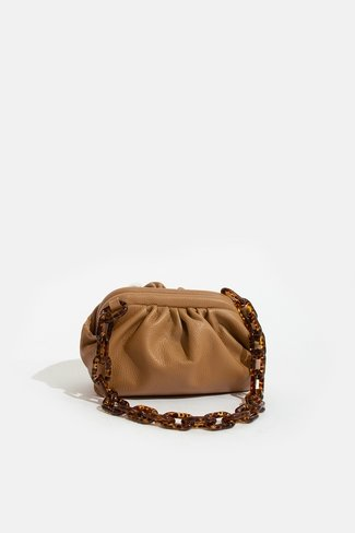 Leather Chain Handbag Camel