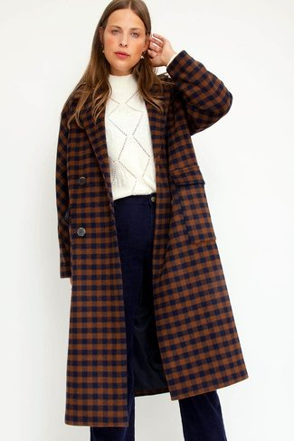 Slfelement Check Coat Navy