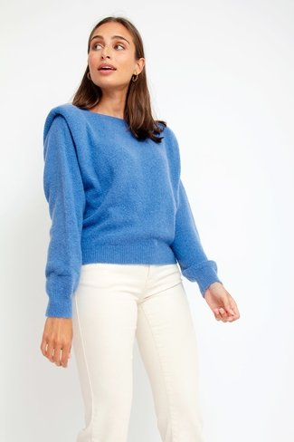 Padded Shoulder Sweater Blue