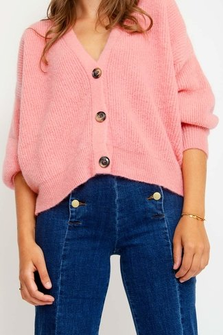 Short Buttoned Cardigan Pink