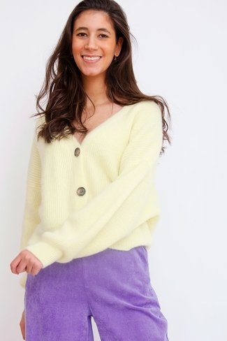 Short Buttoned Cardigan Light Yellow Orla