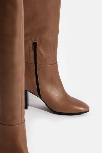 Leather Knee Boots Brown