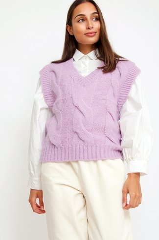 V-neck Cable Knit Debardeur Lilac Sweet Like You