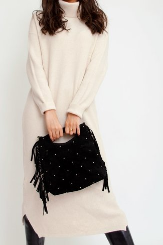 Gold Dots Fringe Shopper Black