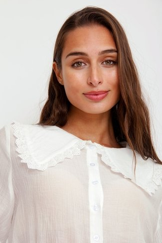 Wide Collar Top White