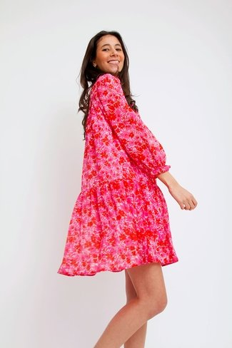 Ruffle Lurex Dress Pink