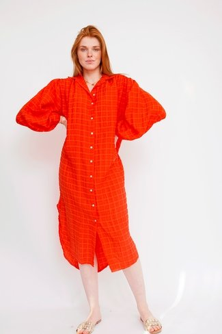 Textured Shirt Dress Orange Sweet Like You
