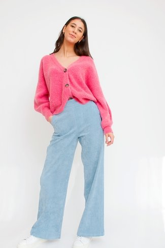 Cropped Corduroy Pants Blue Sweet Like You